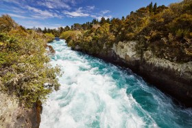 Looking upstream at the Huka falls