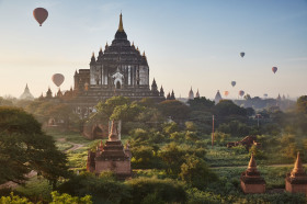 Balloons flying over Bagan