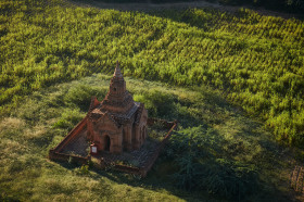 A pagoda in the middle of rice fields