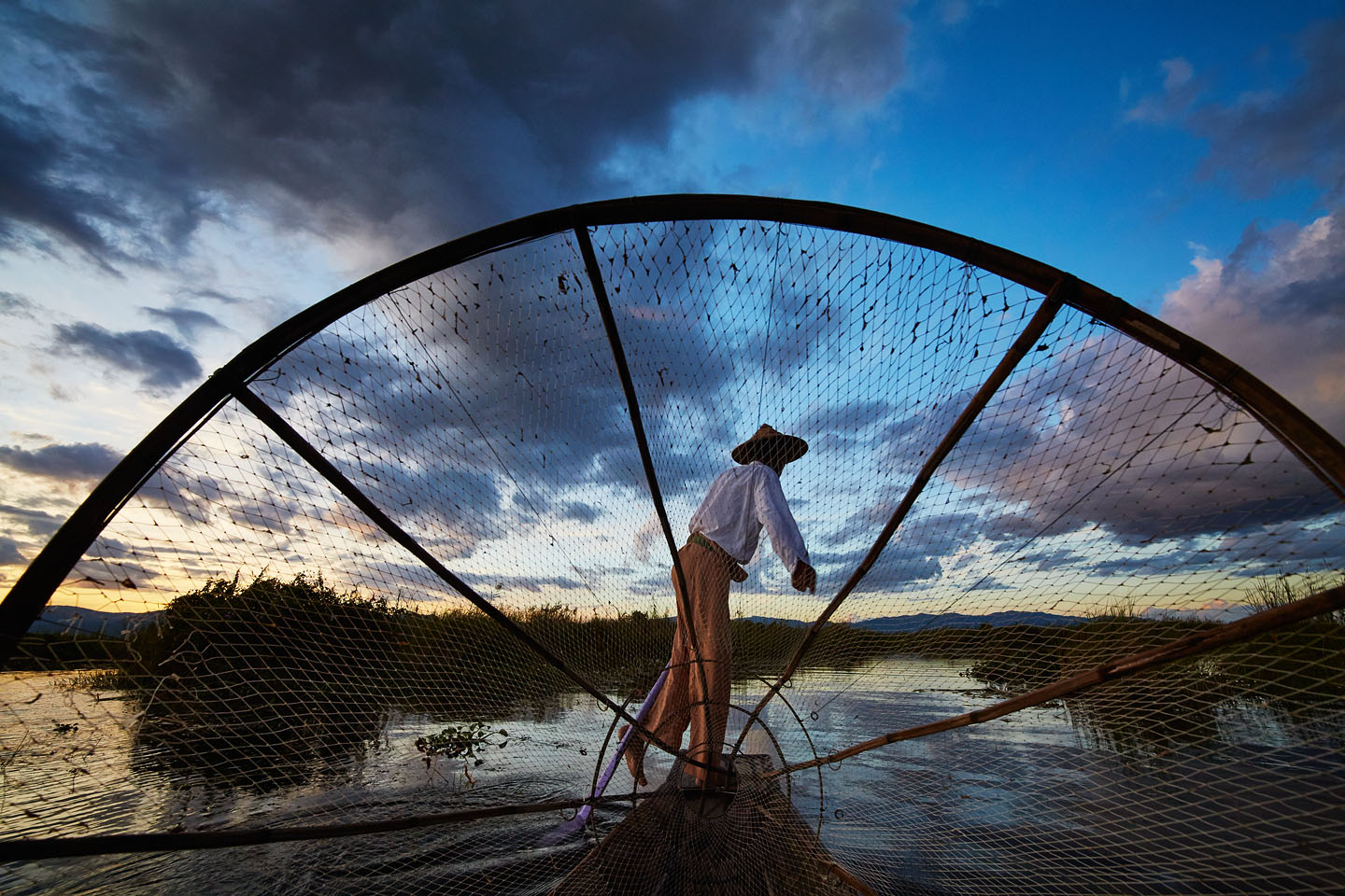 On a boat for sunset at Inle lake