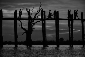 U Bein Bridge in Black and White