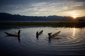 Fishermen at sunrise at Inle lake