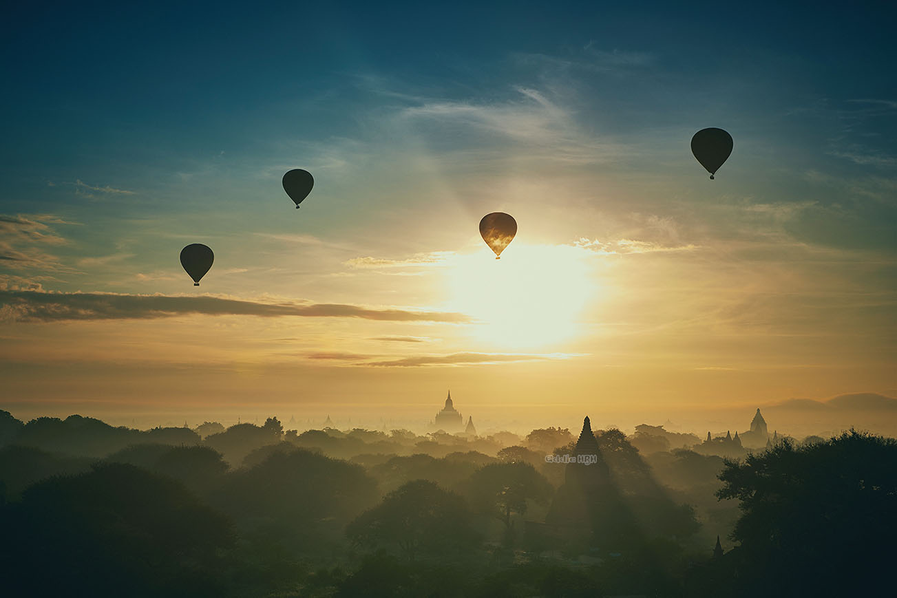 Balloons of Bagan at Sunrise
