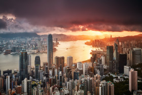 Golden Sunrise in Hong Kong