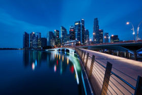 Marina Bay early in the morning in Singapore.