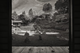 Peaceful Japanese temple in autumn