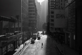 The sun comes in between buildings in Wanchai